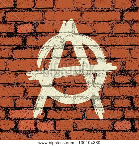 anarchy sign on brick wall - vector illustration