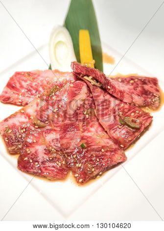 wagyu beef rib Japanese  meat BBQ yakiniku