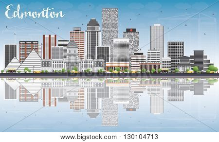 Edmonton Skyline with Gray Buildings, Blue Sky and Reflections. Business Travel and Tourism Concept with Modern Buildings. Image for Presentation Banner Placard and Web Site.