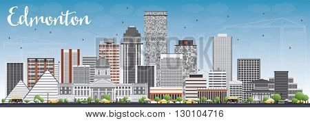 Edmonton Skyline with Gray Buildings and Blue Sky. Business Travel and Tourism Concept with Modern Buildings. Image for Presentation Banner Placard and Web Site.