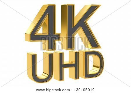 4K Ultra HD concept 3D rendering isolated on white background