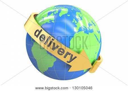 Global delivery concept 3D rendering isolated on white background