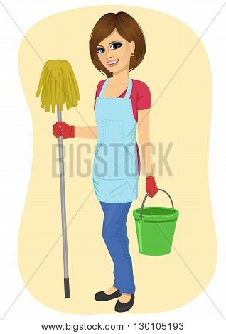 young beautiful cleaning maid woman with bucket and mop smiling isolated over white background