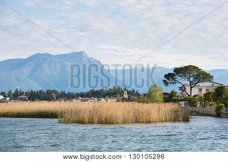 Coastline of Lake Garda in Sirmione town at spring time