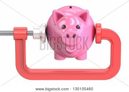 Piggy bank in the clamp tool 3D rendering isolated on white background