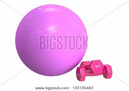 Pink Fitball and dumbbells 3D rendering isolated on white background