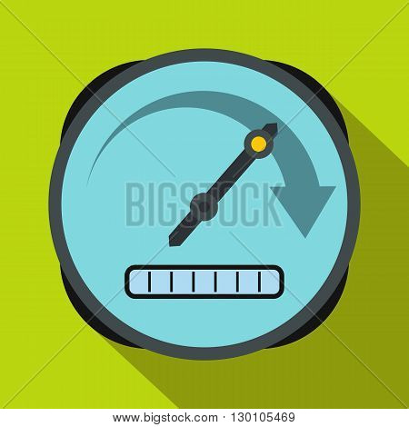 Speedometer icon in flat style on a green background