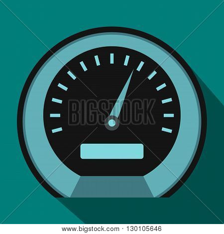 Speedometer icon in flat style on a blue background