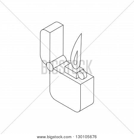 Pocket lighter with fire icon in isometric 3d style on a white background