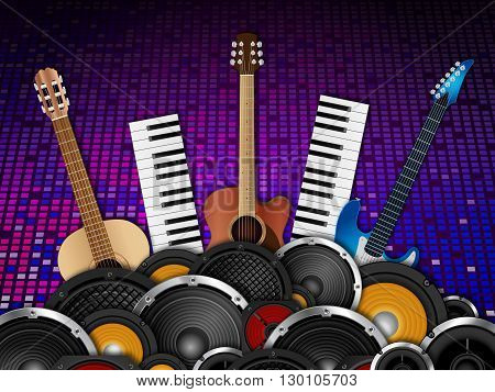 Musical instruments and speakers on disco background