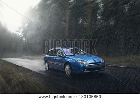 Minsk, Belarus - November 23 2015: Blue car Renault Laguna fast drive on wet road in rain at daytime