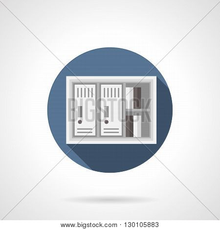 Lockers and shelves with documents with long shadow. Office equipment and furniture, storage of secret data, directories or archival information. Round flat color style vector icon.