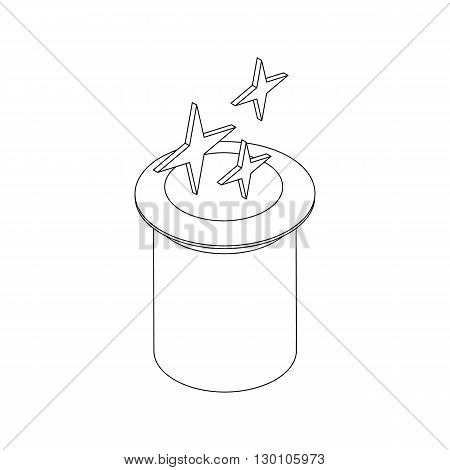 Magic hat  with stars icon in isometric 3d style on a white background
