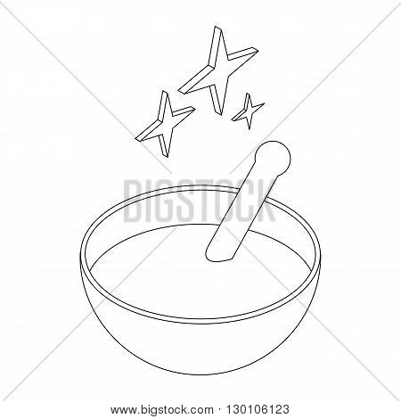 Bowl with magic potion icon in isometric 3d style on a white background