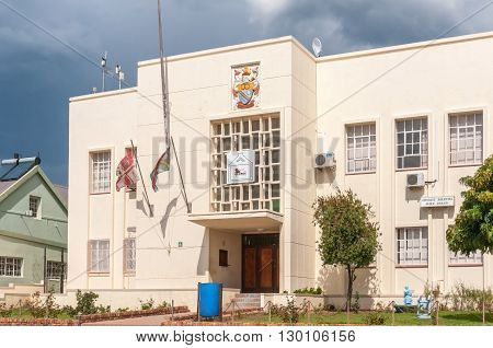 UNIONDALE SOUTH AFRICA - MARCH 5 2016: The entrance of the municipal building and library in Uniondale. The town is part of the George municipality