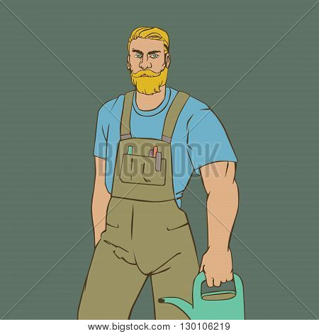 Vector illustration with hipster man gardener in cool retro style