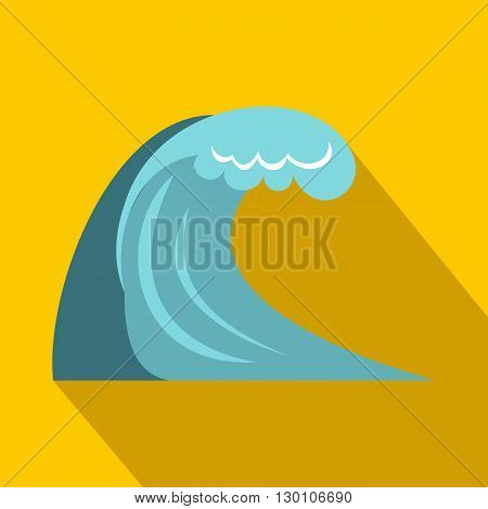 Big wave icon in flat style on a yellow background