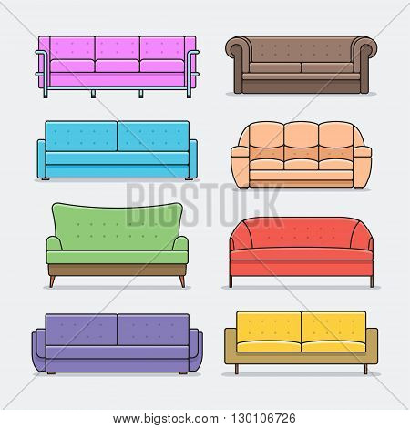 Vector infographic of sofa design styles. sofa Icon set.