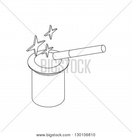 Magic hat and wand with sparkles icon in isometric 3d style on a white background