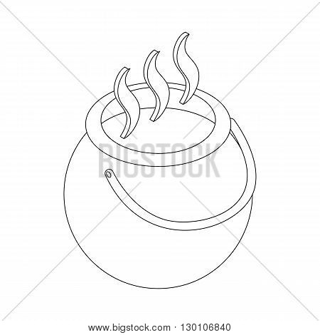 Witch cauldron with potion icon in isometric 3d style on a white background