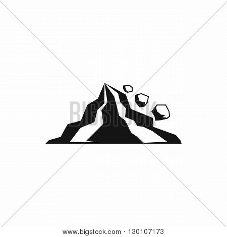 Rockfall icon in simple style on a white background