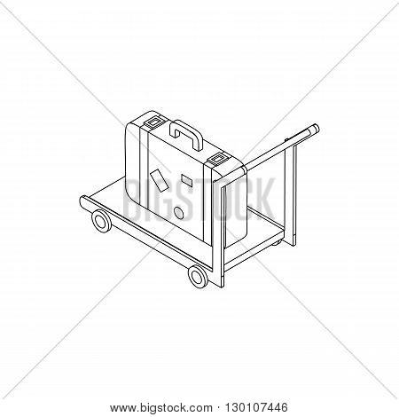 Luggage standing on trolley icon in isometric 3d style isolated on white background