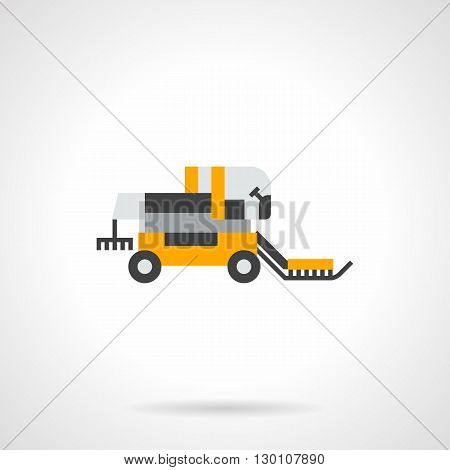 A side view of yellow harvester. Farming and agricultural machinery. Equipment for gathering grain harvest. Automation of field work. Flat color style vector icon.
