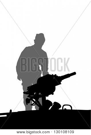 Soldier in uniform with gun on white background