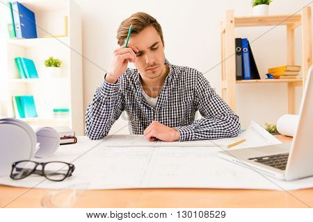 Ponder Tired Architect Thinking About Way To Draw Scheme