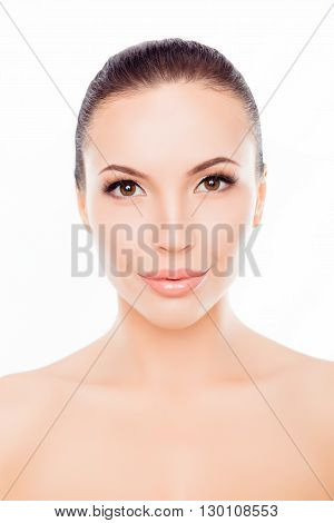 Portrait Of Beautiful Young Woman With Clean Fresh Skin