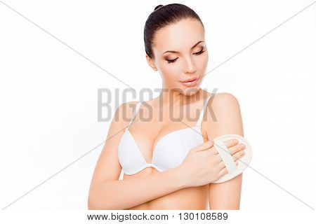 Young Woman In White Bra Scrubbing Her Body