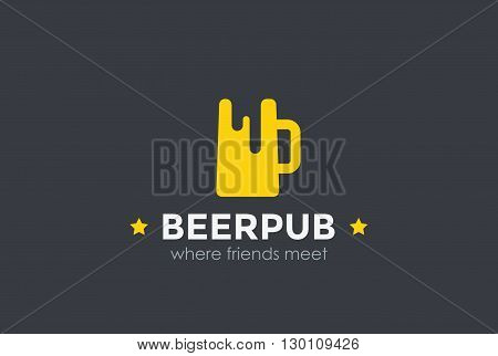 Beer Mug Silhouette Bar Pub Logo design vector Logotype icon