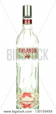 CIRCA MARCH 2016 - GDANSK: Finlandia cranberry natural flavoured vodka isolated on white background. Finlandia vodka has been produced from barley and pure glacier water since 1970.