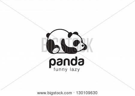 Panda bear silhouette Logo vector template animal Logotype icon.