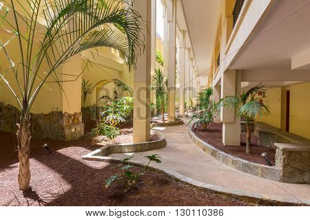 TAURITO, GRAN CANARIA, SPAIN - APRIL 20, 2016: Architecture of the Paradise Lago Taurito hotel in Gran Canaria, Spain. Paradise is a complex of 4 magnificent hotels in Gran Canaria with water park.