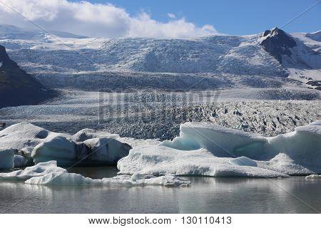 Many Icebergs in Jokulsarlon Lagoon. Iceland. Scandinavia