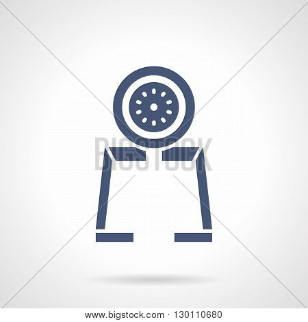 Monochrome silhouette of gauge tool. Device with dial indicator. Measurement technology, technical control in industry, engineering. Symbolic blue glyph style vector icon.