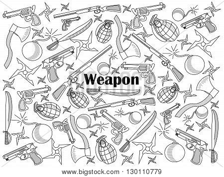 Weapon design colorless set vector illustration. Coloring book. Black and white line art