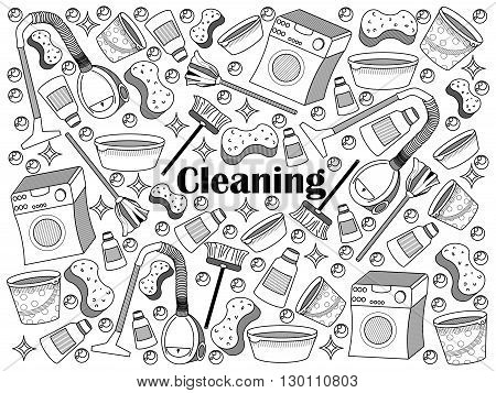 Cleaning design colorless set vector illustration. Coloring book. Black and white line art