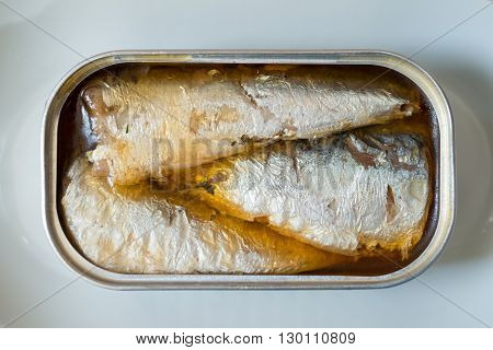 An opened can of sardines or herring in oil