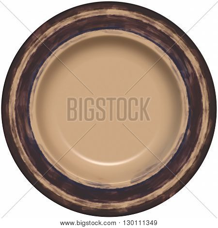 Isolated Empty Round Glazed Plate With Decorative Frame