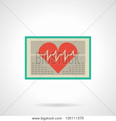 Green screen with big red heart and curve. Computer electrocardiography. Cardiology symbol. Diagnosis of cardiovascular diseases. Medicine and healthcare concept. Flat color style vector icon.