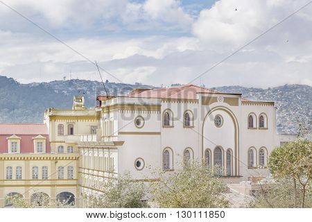 Eclectic style elegant buildings lcoated on the historic center of Quito in Ecuador