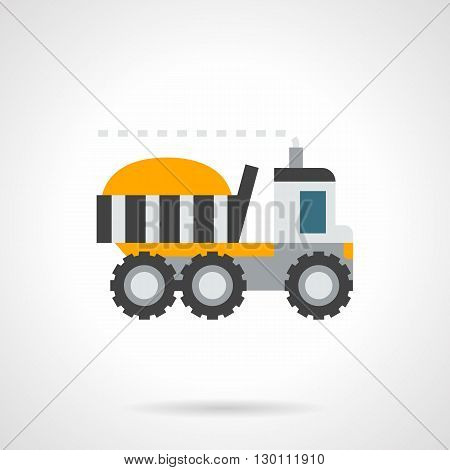 Yellow loaded farm truck. Transportation in agriculture, delivery of grain storage, wheat exports. Flat color style vector icon.