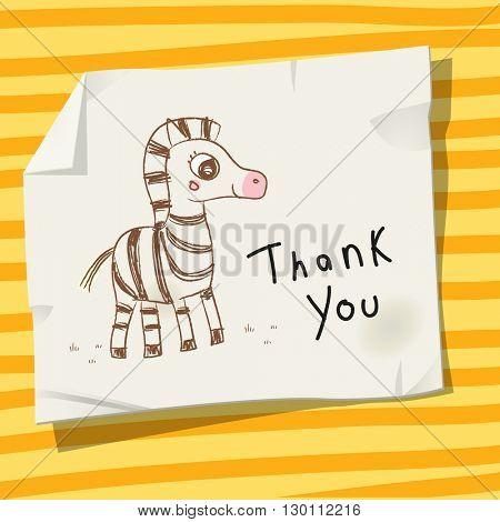 Kids thank you card vector illustration, zebra.