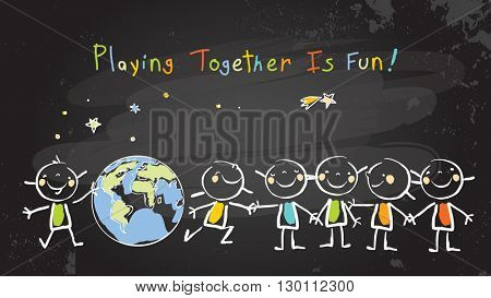 Children, group of kids, playing together. Vector illustration, chalk on blackboard doodle, hand drawn sketch, scribble.