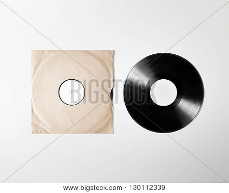 Blank vinyl album cover sleeve mockup isolated clipping path. Gramophone music plate clear surface mock up. Paper sound shellac disc label template. Vintage old grunge cardboard vinyl disk packaging