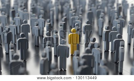 Man differs from the crowd, 3d illustration