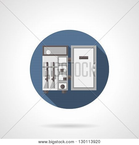 Open steel weapon safe. Gun closet with rifles. Weapon cabinets  for police and military, paintball and airsoft storages. Round flat color style vector icon.