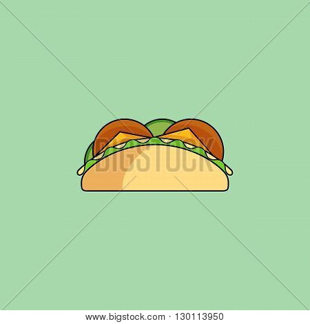 Cute cartoon tacos. Burrito with salad cucumber cutlet cheese.Minimalist line style modern color flat design. Mexican food thin line icon for web mobile. Vector illustration eps10